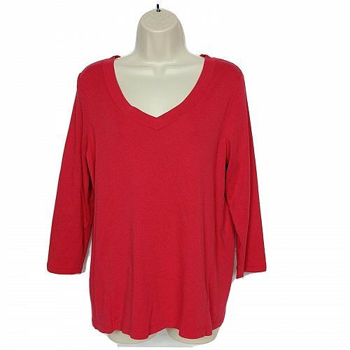J Jill Womens Perfect Pima T-Shirt Size Small Red V Neck 3/4 Sleeve
