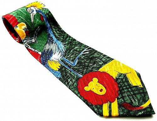 World Wildlife Fund Lion Monkey Toucan Camel Zebra Bird Design 104 Silk Tie