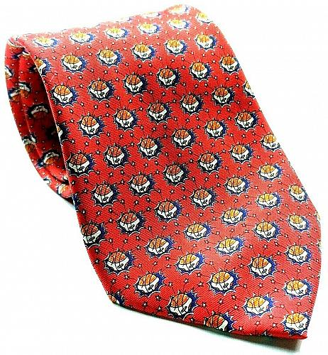 Foundation For Cancer Research Dick Vitale Basketballs Red Silk Necktie