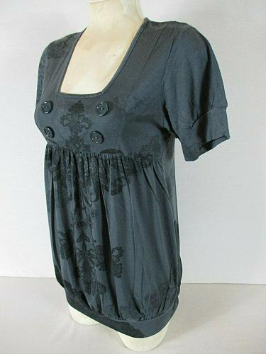 ESPRESSO womens Large S/S gray PRINTED maternity top (C)