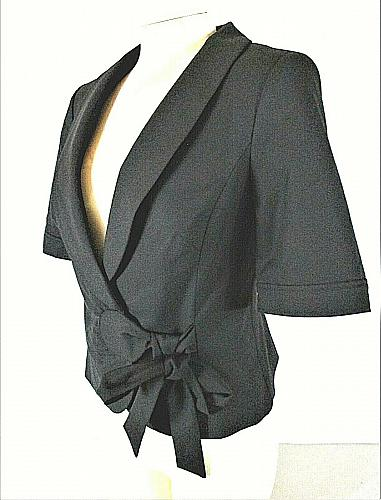THE LIMITED womens Small S/S black SIDE TIE 1 button lined stretch jacket (E)P