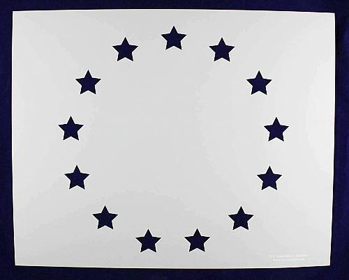 """13 Star Revolutionary Field Stencil 14 Mil -17.6""""H x 22""""W - Painting /Crafts/ Te"""