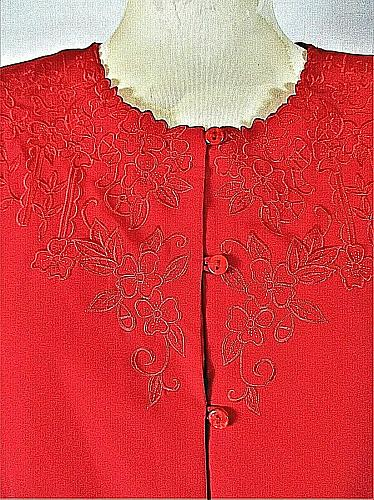 Notations womens Large L/S red EMBROIDERED neckline & hem button down top (F)