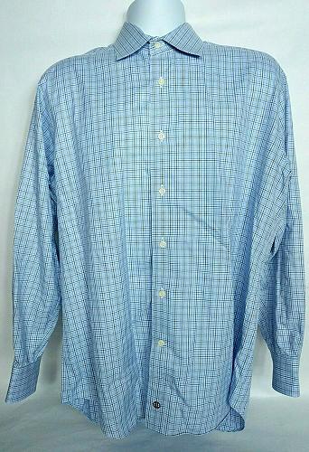 David Donahue Men's Dress Shirt 16 34/35 Blue Gray Plaid Long Sleeve