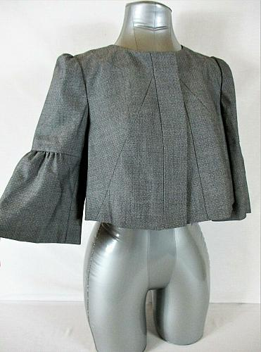THE LIMITED womens Small 3/4 Bell sleeve gray FULLY LINED CROPPED jacket (B4)P