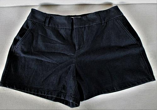 ELLE womens Sz 6 W28 navy blue COTTON BLEND eyelet chino STRETCH shorts (B6)P