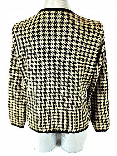 TALBOTS womens Small petite L/S gold black WOOL blend button down jacket (W)P