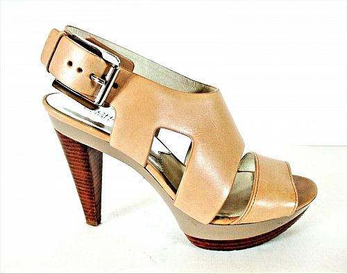 Michael Kors Beige Leather Platform Heels Sandals Shoes Women's 8 1/2 M (SW15)