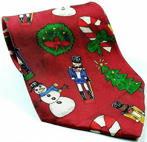 Save The Children Christmas Tree Snowman Wreath Nutcracker Novelty Silk Tie