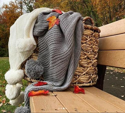 Solid Knitted Throw Blankets Bedroom Sofa Couch Gray Ivory Accent Home Decor