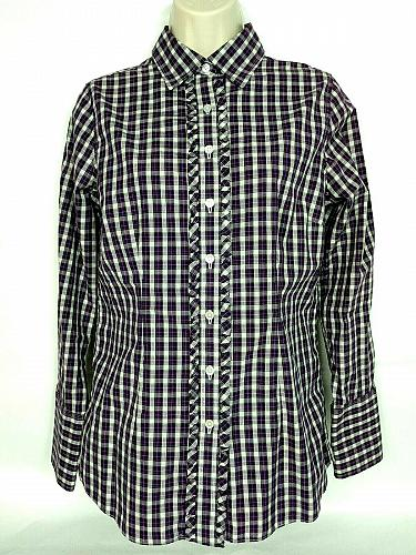 Lands End Womens Western Shirt Size 6 Purple White Plaid Ruffles Long Sleeve