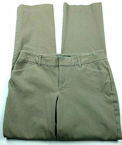 Eddie Bauer Womens Slighty Curvy Fit Dress Pants 6 Solid Gray Stretch