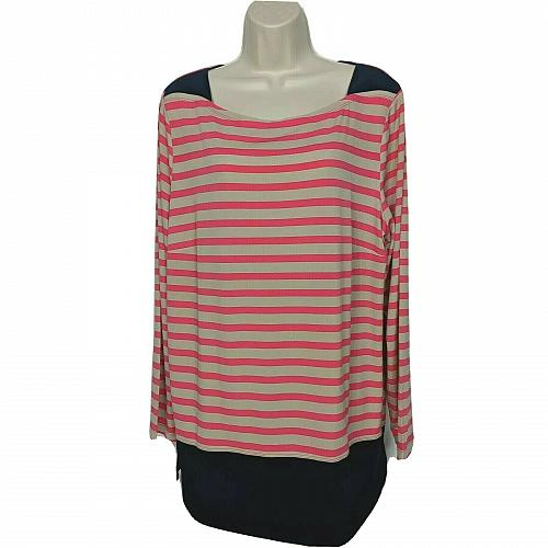 Susan Graver Printed Liquid Knit Long Sleeve Top w/ Solid Trim XL Pink Striped