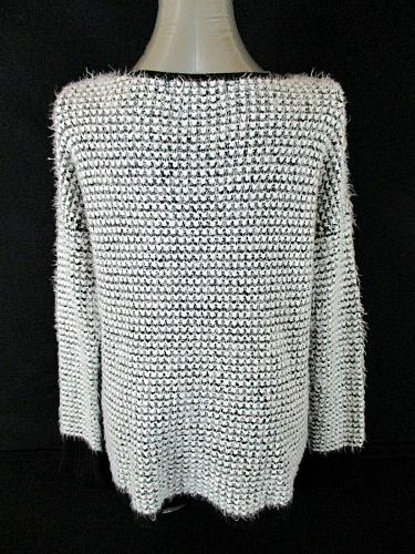 REWIND womens Large L/S white black checked HIGH LOW hem FUZZY sweater (A8)P