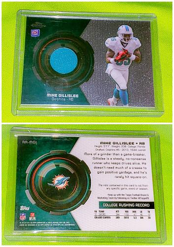Nfl Mike Gillislee Miami Dolphins 2013 Topps Chrome Rookie Game-worn Jersey Mint