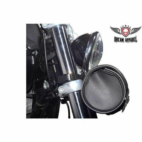 "Black Motorcycle Front Fork Barrel Shape Tool Bag 10"" Pouch Bike Universal New"