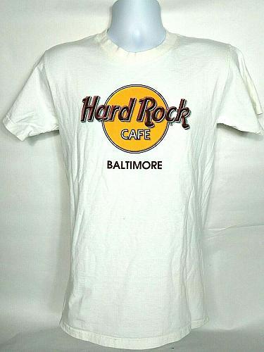 Hard Rock Cafe Mens T Shirt Small Baltimore White Crew Neck Short Sleeve