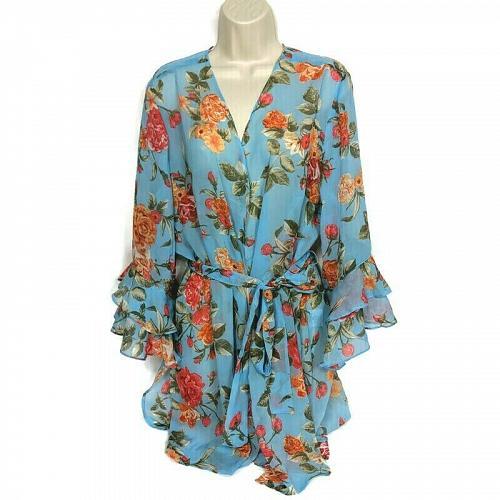 Susan Graver Womens Printed Chiffon Sheer Cardigan Size Large Floral 3/4 Sleeve