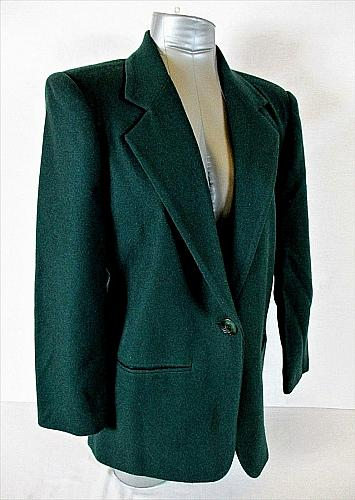 POTOMAC womens Sz 6 petite L/S green FULLY LINED 1 button 100% WOOL jacket (A3)