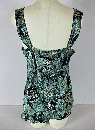 SELF ESTEEM womens Sz XL sleeveless blue black ASYMETRICAL HEMLINE top (O)