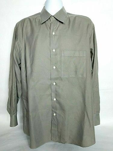 Ike Behar New York Men's Dress Shirt Size 16 1/2 R Solid Gray 100% Cotton