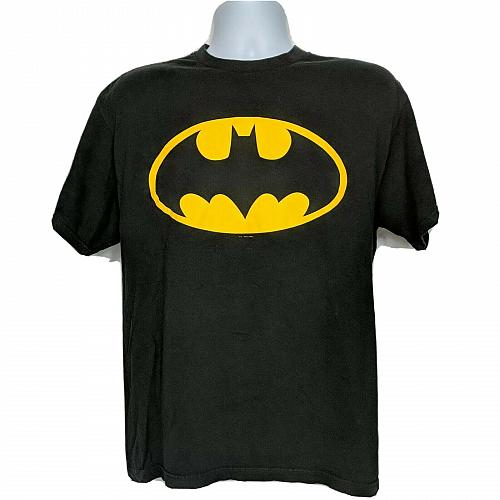 Batman Logo DC Comics Superhero T-Shirt Large Black Gold Short Sleeve Crew Neck