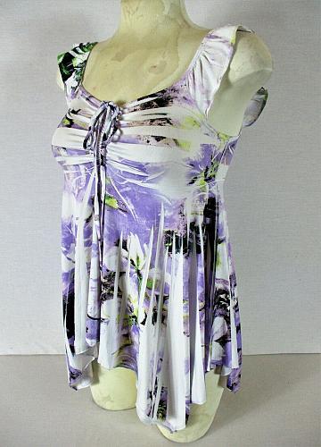 EVOGUES womens Small S/S white purple HANDKERCHIEF HEM tie front stretch top M)