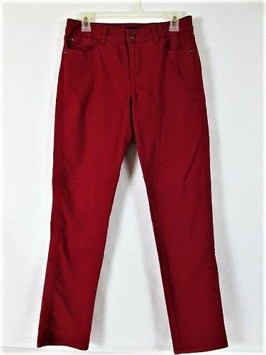 DANA BUCHMAN womens Sz 4 W28 L30 red denim STRAIGHT leg STRETCH jeans (N)