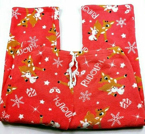 Rudolph The Red Nosed Reindeer Women's Fleece Pajama Pants Size XXL Stretch
