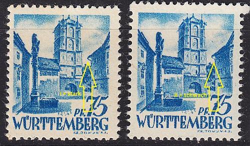 GERMANY Alliiert Franz. Zone [Württemberg] MiNr 0011 vv I,II ( **/mnh ) [01]