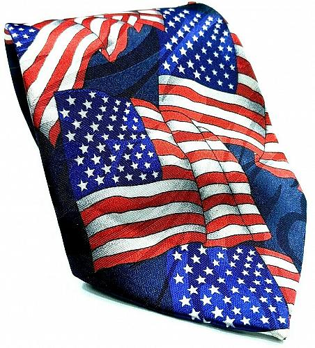 American Flag Red White Blue All Over Print Patriotic Novelty Necktie