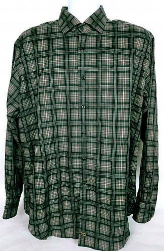 Thomas Dean Men's Shirt XL Button Front Long Sleeve Black Gray Checked