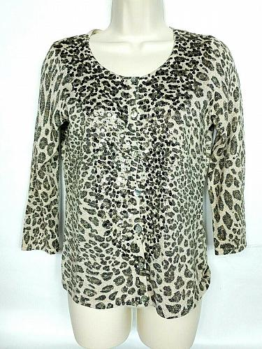 Chicos Women's Cardigan Sweater Size 0 Leopard Print Sequined Sparkly