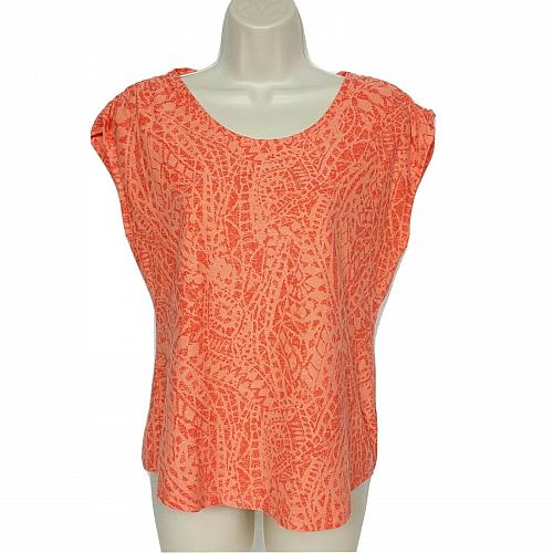Columbia Athletic Shirt Size Small Orange Geometric Scoop Neck Ruched Shoulder
