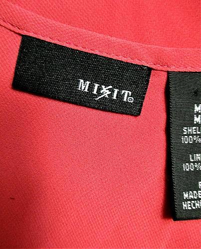 MIX IT womens Medium sleeveless pink black POLKA DOT FRONT semi sheer top (T)