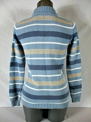 LIZ CLAIBORNE womens Small L/S blue taupe white STRIPED 1/4 zip sweater (B2)P