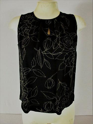 KATE HILL womens Sz 6 sleeveless black floral 100% SILK keyhole neck top (B6)P