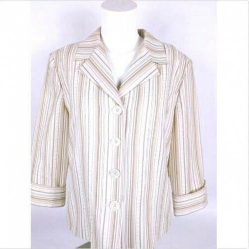 Dressbarn Women's Suit Coat Medium Lined Long Sleeve Ivory Striped