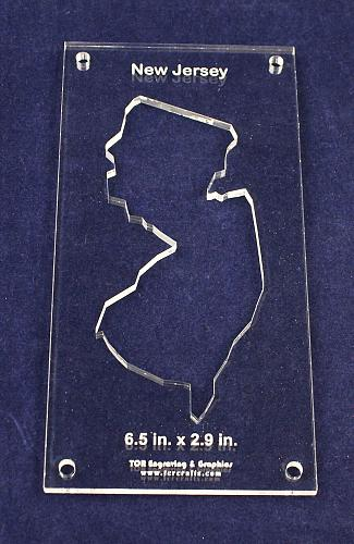 """State of New Jersey 6.5 x 2.9 1/4"""" Quilt Template- Acrylic - Inside Long Arm/Sew"""