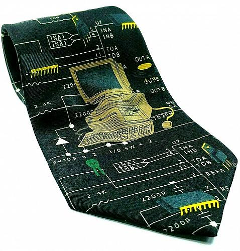 Computer Printer Microchips Nerd Geek Electronic Novelty Necktie