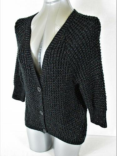 TAKEOUT womens Sz XS 3/4 sleeve black METALLIC button up CARDIGAN sweater (A4)P