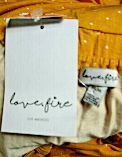 LOVE, FIRE womens Medium S/S mustard KEYHOLE polka dot skater dress NWT (B5)P