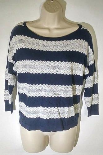 Charter Club Women's Crew Neck Sweater Size P/P Striped Blue White