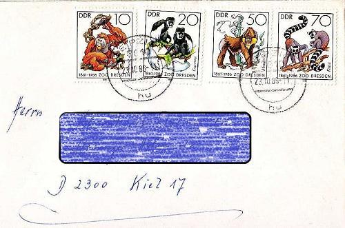 GERMANY DDR [1986] MiNr 3019-22 ( Brief ) [01] Tiere