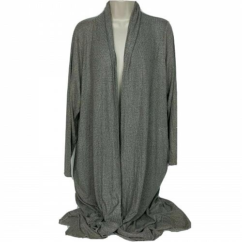 Lisa Rinna Collection Petite Open Front Duster Cardigan XLP Gray Long Sleeve