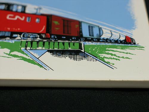 "Vintage Train Railroad Railway Tile Trivet Plaque Safety Award 6"" CN Caboose"