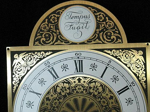 Vintage Clock Face Engraved Brass Cherubs Mantle Grandfather Wall Germany NOS