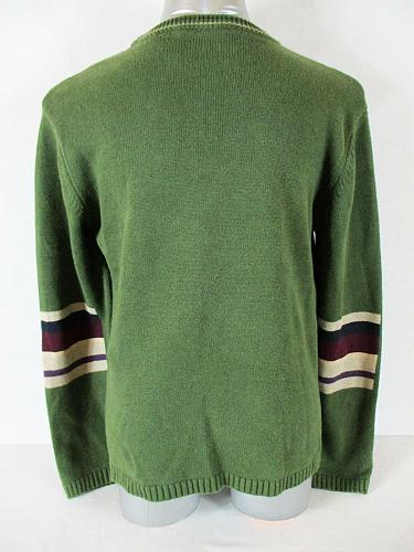 RUE 21 mens Large green maroon blue tan STRIPED cotton blend sweater (A7)