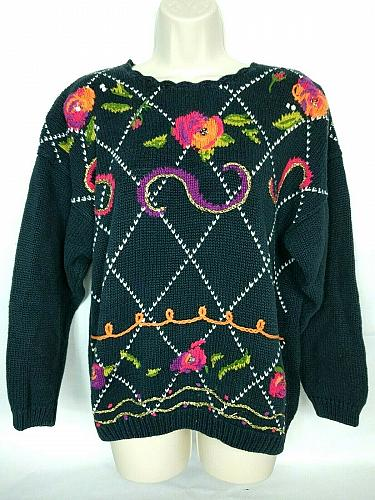 Needles & Yarn Womens Pullover Sweater Size Large Sequins Floral Boat Neck