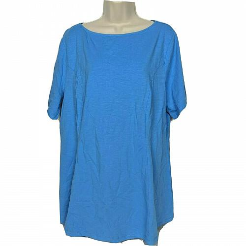 Denim & Co Fit & Flare Knit Tunic Solid Blue Size XL Short Sleeve Boat Neck